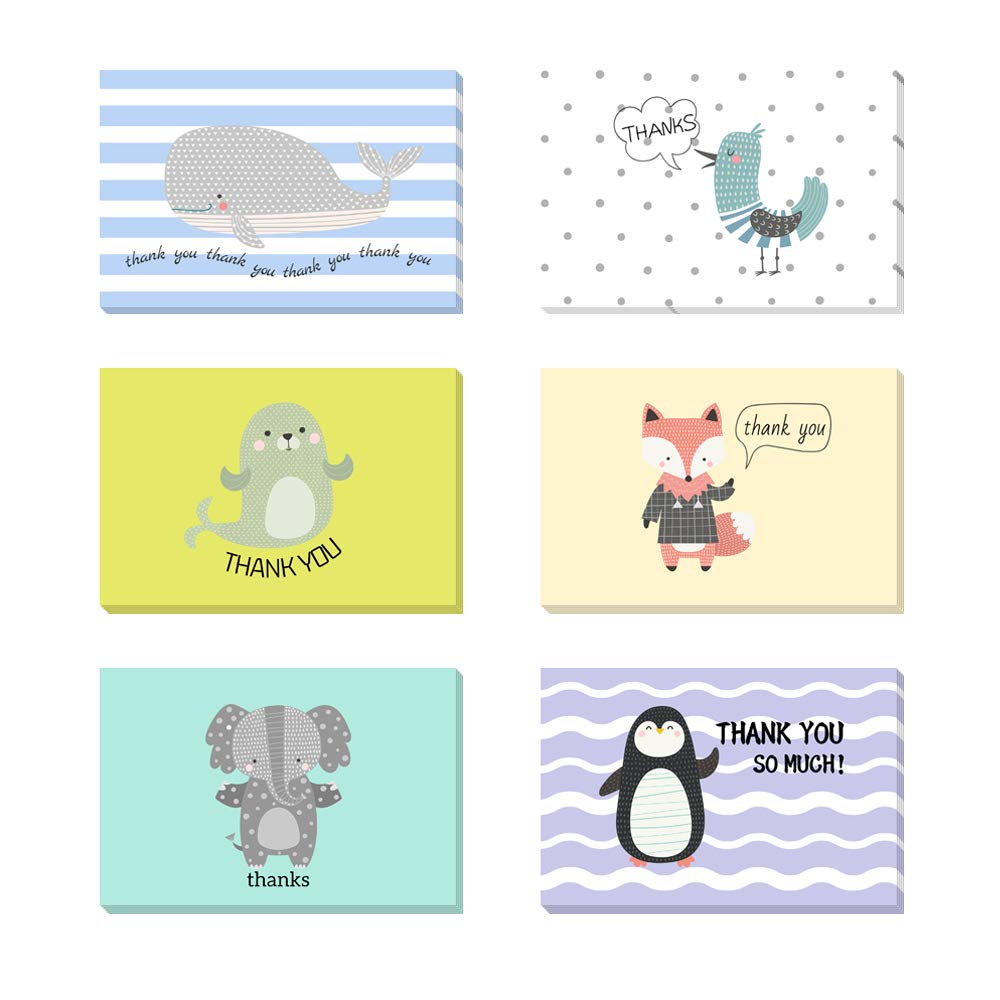 Fullive 24 Thank You Cards,6 Cartoon Animal Pattern Designs Thank You Notes Greeting Card with Envelops for All Occasion-Blank Inside (24 animal) by Fullive (Image #1)