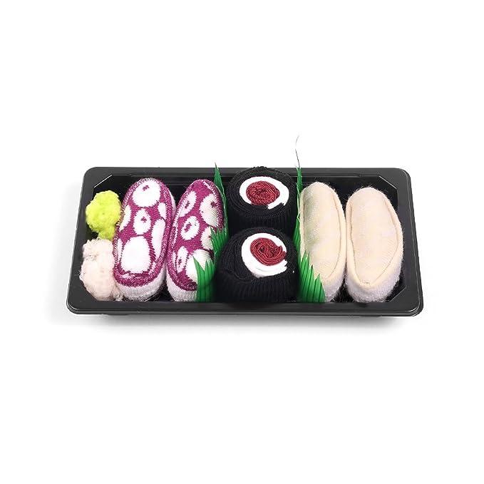 Sushi calcetines caja bebé 3 pares mantequilla Fish Maki atún pulpo morado: Amazon.es: Ropa y accesorios