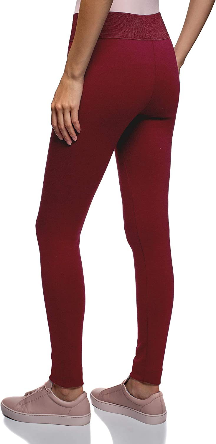 oodji Collection Donna Leggings in Maglia con Cintura Elastica Larga
