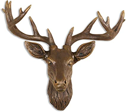 Even Wall Decor Faux Resin Deer Head For Wall Mount Decoration Home Decor Gifts Size 19 6 X 19 6 X 7 4 Inch Amazon Co Uk Kitchen Home