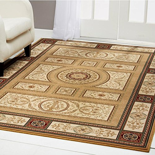 Rug Gold Antique Rectangle (Home Dynamix Regency Talula Area Rug | Traditional Dining Room Rug | Timeless Geometric Pattern and Printed Boarder | Gold, Beige, Ivory 5'2