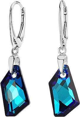 SILVEGO Damen Ohrringe aus 925 Sterling Silber mit Swarovski® Crystals Blau De Art Bermuda Blue