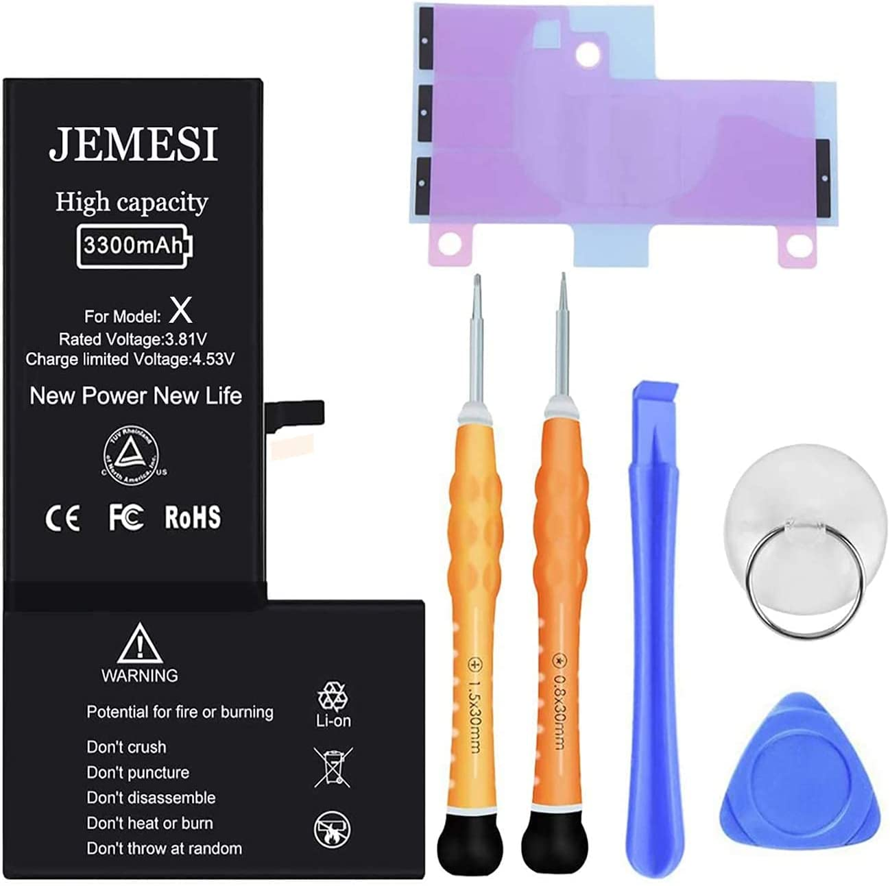 JEMESI New Battery for iPhone X, 3300mAh Ultra High Capacity Battery Replacement Kit, with Professional Repair Tools and Instructions-1 Year Warranty