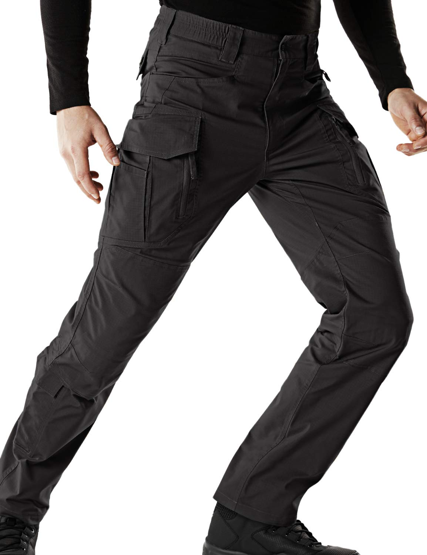 CQR Men's Flex Stretch Tactical Work Outdoor Operator Rip-Stop Trouser Pants EDC, Flexy Cargo Zip(tfp521) - Black, 32W/30L