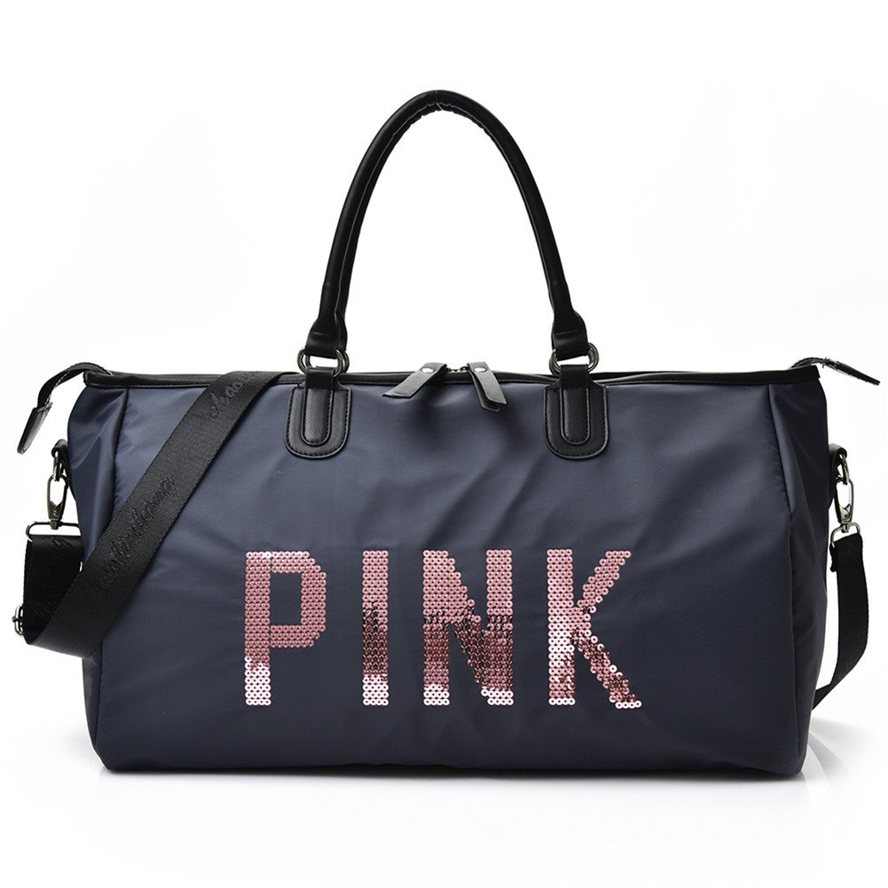 Homekit Travel Handbag VS Pink Shoulder Bag Sports Large Duffel Bag Letter Large Capacity Waterproof Beach Tote (blue)