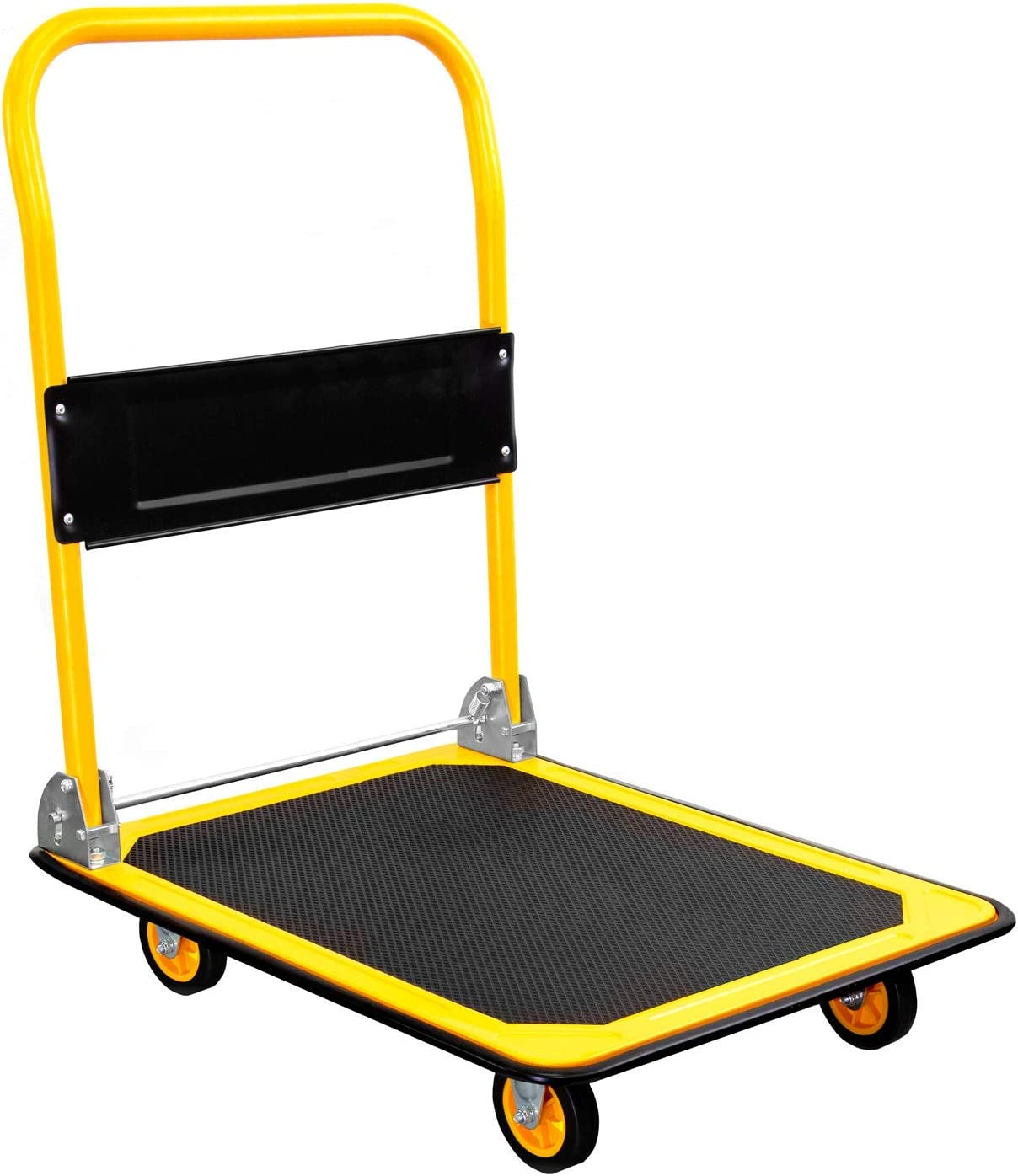 MOUNT-IT! Platform Truck [660lb Weight Capacity] Heavy Duty Foldable Flatbed with Swivel Wheels, Rolling Trolley Cart, Foldable, Flat, Push Cart Dolly (YELLOW)