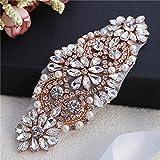 Wedding Belt Applique Rhinestone LIANGZHILIAN Sash Belt Applique Sew on Or Hot Fix Sparkly for Bride Belt Formal Dresses (Rose Gold)