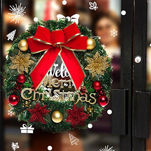 Merry Christmas Wreath Garland Decoration Red Bow Outdoor Indoor (Large Image)