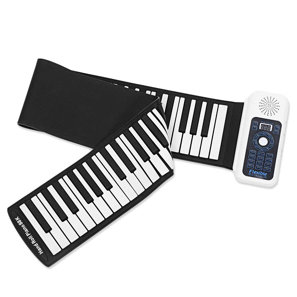 FFFEIZHU Roll Up Piano 88-Keys Roll Up Piano,Upgraded Portable Rechargeable Electronic Hand Roll Piano with Environmental Silicone Piano Keyboard for Beginner