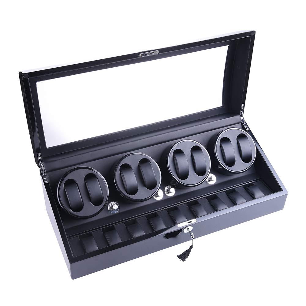 udgtee XTELARY Luxury 4 Motor Quad Automatic Watch Winder Display Box Case 8+9 Storage (R4891B)