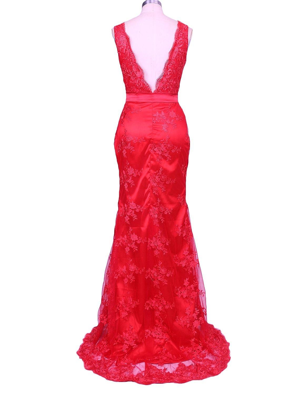 Mermaid Evening Gowns Plus Size Lace Prom Dresses Long V Neck Open Back E140: Amazon.co.uk: Clothing