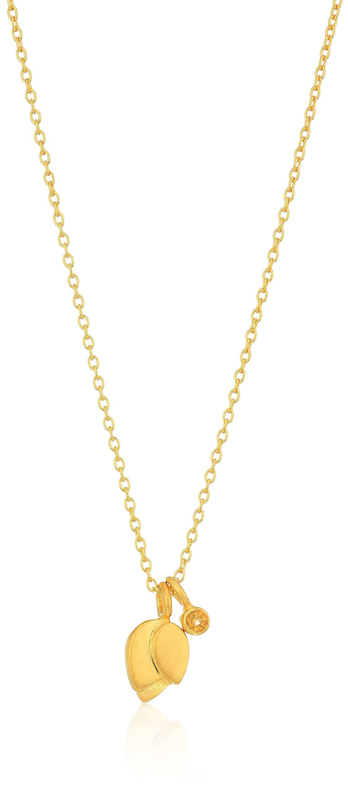 Satya Jewelry Citrine Gold Plate Lotus Petal Birthstone Pendant Necklace, 18-Inch, Yellow