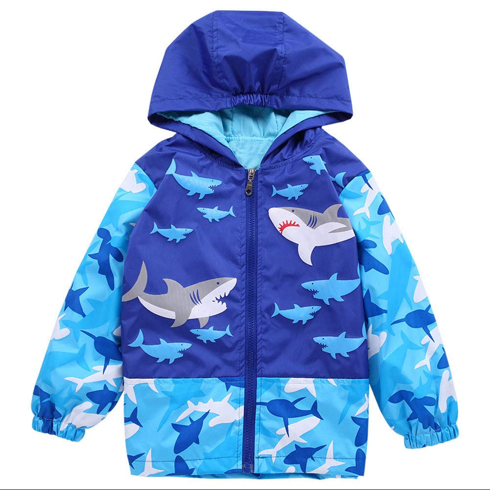 Toddler Boys 1-6Y Shark and Skull Hooded Jacket Waterproof Lightweight Raincoat Outerwear