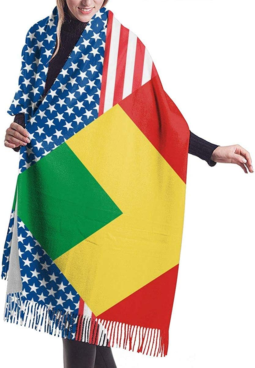 American and Congo Flag Cashmere Scarf Shawl Wraps Super Soft Warm Tassel Scarves For Women Office Worker Travel
