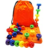 Sharplace Best Stacking Pegboard Toy for Smart Toddlers Great Montessori Educational Gift 30 Pegs and Drawstring Backpack with Manual for Kids