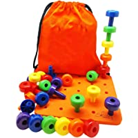 BAOBLADE Best Stacking Pegboard Toy For Smart Toddlers Great Montessori Educational Gift 30 Pegs And Drawstring Backpack With Manual For Kids