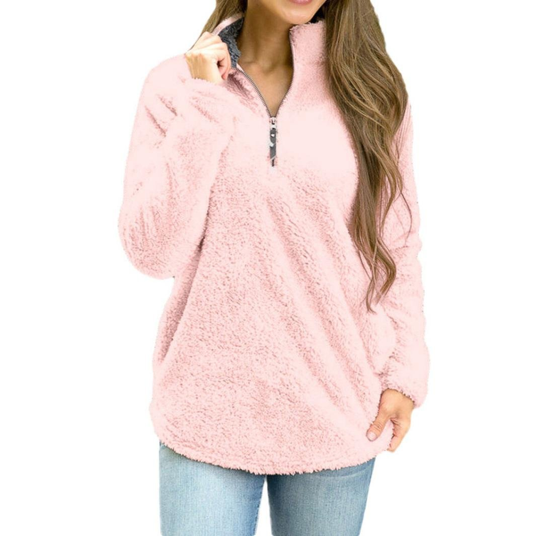 Womens Winter Warm Fleece Sweater Blouse- Long Sleeve Tops Pullover Sweatshirt with Zipper and Pocket-MOONHOUSE (L, Pink)