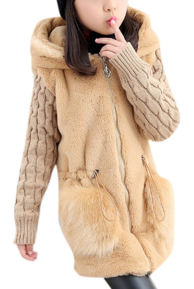 Grils Warm Thicken Faux Fur Hooded Fake Mink Coat Jacket with Adjustable Strap 130 Beige