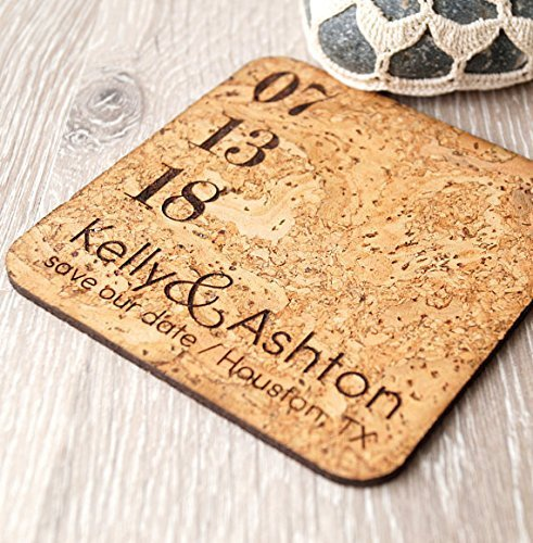 (Cork save the dates, rustic save the date coasters or magnets, vineyard wedding magnets, personalized laser engraved coasters - Set of 25 pc)