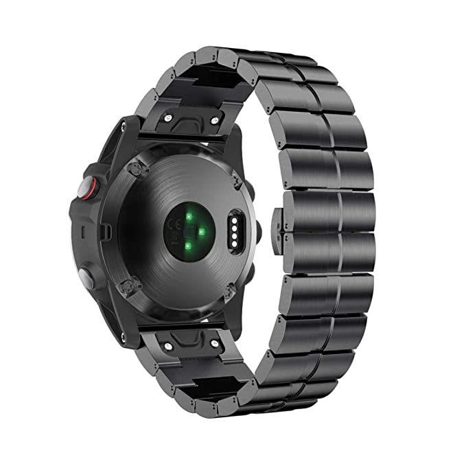 Bestow Pulsera de Acero Inoxidable Garmin Fenix 5X Reloj Correa de Banda de la Correa de Liberacišn ršpida Reloj Elegante Electršnica Gadgets(Negro): ...