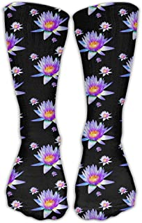 Wfispiy Purple Flowers Women's Hip-hop Unisex Athletic high Knee Long Cotton Stockings Breathable Compression Socks