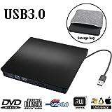 External DVD Drive USB 3.0 Transmission Slim Portable External DVD CD +/-RW Writer/Burner/Rewriter ROM Drive Perfect for Mac OS/Win7/Win8/Win10/Vista PC Desktop Laptop
