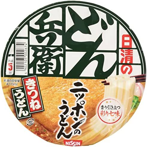 Nissin Donbei Kitsune Udon, Instant Japanese Udon Noodle with Fried Tofu, Strong Taste, 3.4oz X 6 bowls (For 6 Servings)[japan Import] by Nissin