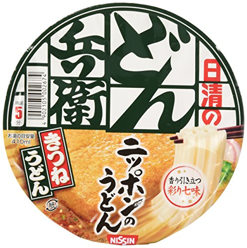 Nissin Donbei Kitsune Udon, Instant Japanese Udon Noodle with Fried Tofu, Strong Taste, 3.4oz X 6 bowls (For 6 Servings)[japan Import] by Nissin (Best Japanese Instant Noodles)