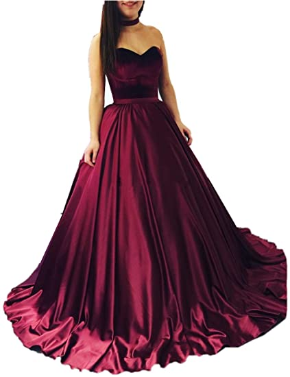 Promworld Womens Elegant Formal Evening Gown Satin Puffy Prom Dresses: Amazon.co.uk: Clothing