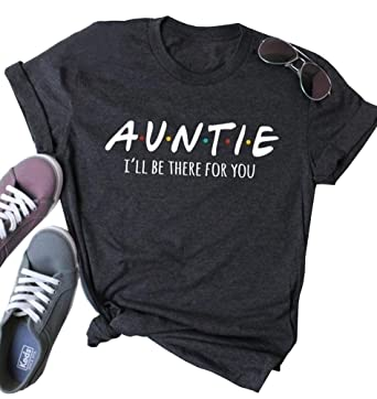 25af16a12 MOMOER Auntie Shirt Women Funny Letter Short Sleeve Casual Graphic Tee  Tshirt for Aunt Gift at Amazon Women's Clothing store: