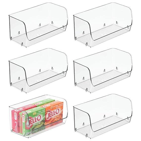 mDesign Juego de 6 Cajas de plástico apilables - Ideal como ...
