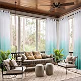 cololeaf Indoor Outdoor Gradient Ombre Sheer Curtain For Patio| Porch| Gazebo| Pergola | Cabana | dock| beach home| backyard| country| garden| wedding - Nickle Grommet - Teal 52'' W x 84'' L (1 Panel)