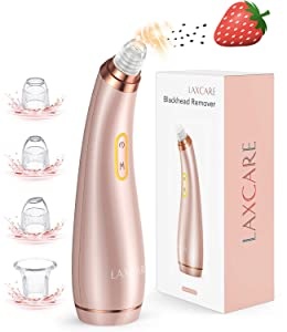 LAXCARE Blackhead Remover Vacuum Rechargeable Pore Cleaner Electric Suction Extractor with 4 Probes for Women Men (Rose Gold)