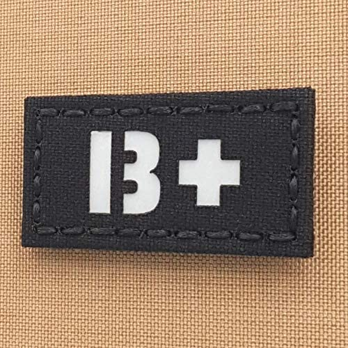 Reflective BPOS BO+ Blood Type 1x2 First Aid Kit IFAK Tactical Morale Hook-and-Loop Patch