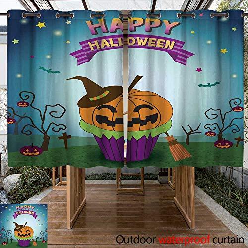 RenteriaDecor Outdoor Balcony Privacy Curtain Halloween pimpkin Cupcakes W96 x L72 ()