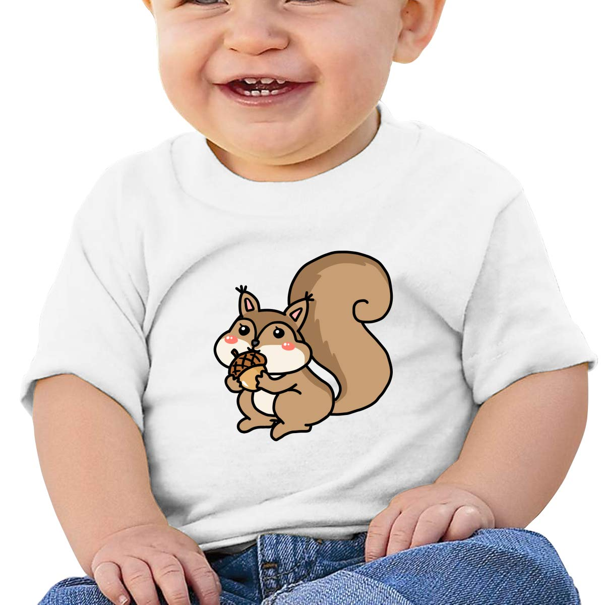 ShenigonThe Squirrel Toddler//Infant Short Sleeve Cotton T Shirts White