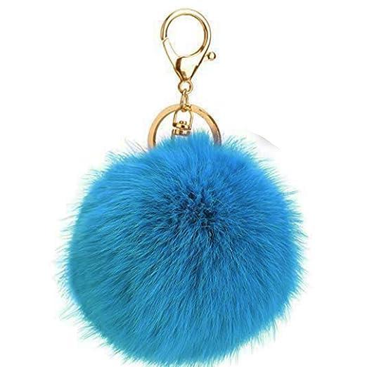 c920c3b617ed Prince2018 Ball Pom Pom Keychain Fur Ball Keyring Fluffy Accessories Car Bag  Charm (light blue