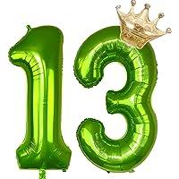 Cymeosh Ballonnen nummer 13, enorme folieballon cijferballon 13, helium ballonnen kroon gouden ballonnen opblaasbaar…