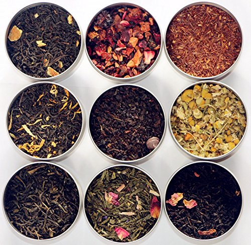 TEAlise Loose Leaf Tea Sampler Gift Set 9 Bestselling Cans 10 Servings of Tea Per Can