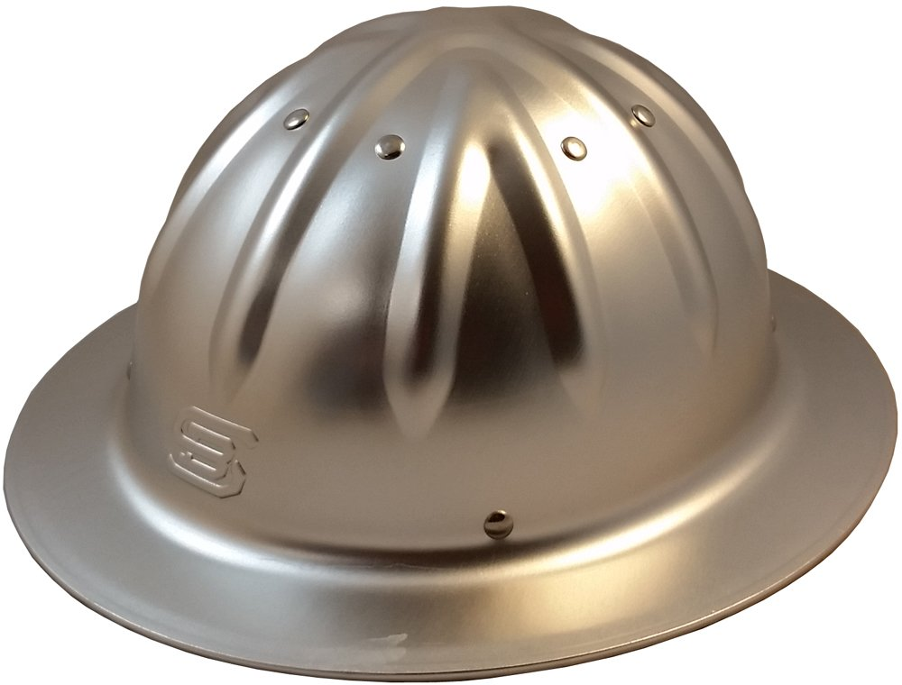 Skull Bucket Aluminum Hard Hats, Full Brim with Ratchet Suspensions Silver, One Size Fits Most by Skull Bucket