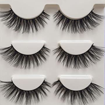 f9d6b6e3b51 Box of 3 Pairs of 3D False Eyelashes(3 pairs in same style).Made by Quality  Imported Man-made Fiber,safe,thiner,very soft and non-deformed than fur mink  ...