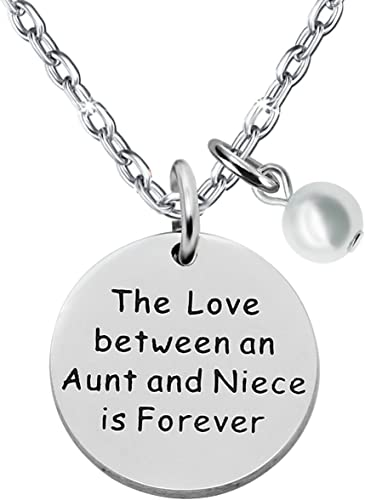 The Love Between an Aunt and Niece is Forever Aunt Niece Pendant Necklace Love Heart Pearl