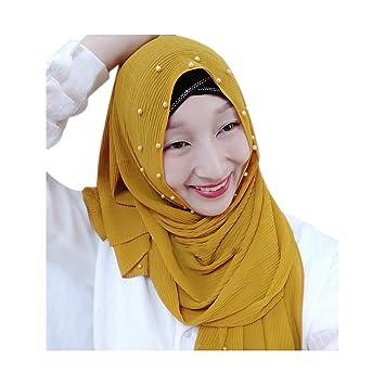 Women Muslim Islamic Glitter Beads Long Hijab Scarves Shawl Wrap Stole Headwear