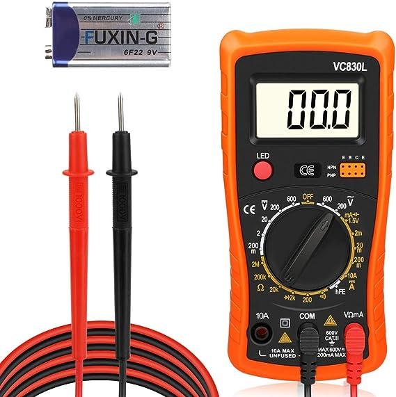 Digital Multimeter Redmoo Multimeter Ac Dc Voltmeter Dc Strom Widerstand Transistor Diode Durchgangsprüfer Spannungsprüfer Stromprüfer Mit Hintergrundbeleuchtung Lcd Display Orange Baumarkt
