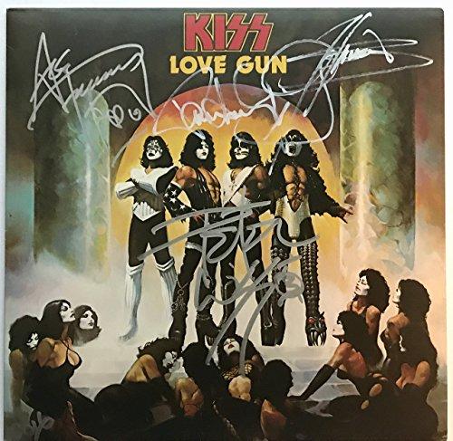 Kiss Signed Love Gun Album Group Autographed Gene Simmons Paul Stanley Ace Peter Criss