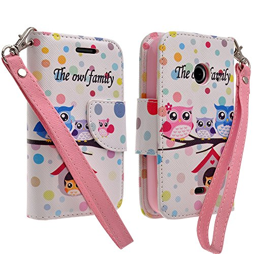 (Galaxy Wireless Magnetic Leather Flip Wallet Pouch For ZTE Z667 (AT&T) Zinger (T-Mobile) Whirl 2 (Net 10), Slim Folio with Kickstand (RAINBOW POLKA DOTS OWL))