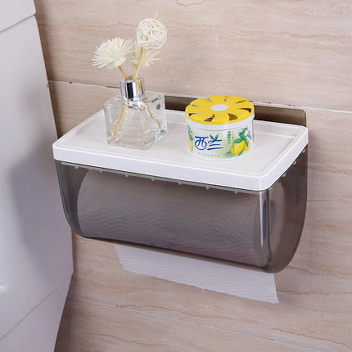 Q&F Wall Mount Toilet Paper Holder,Toilet Roll Holder,Tissue Roll Hanger-waterproof, Moisture Proof-plastic-B