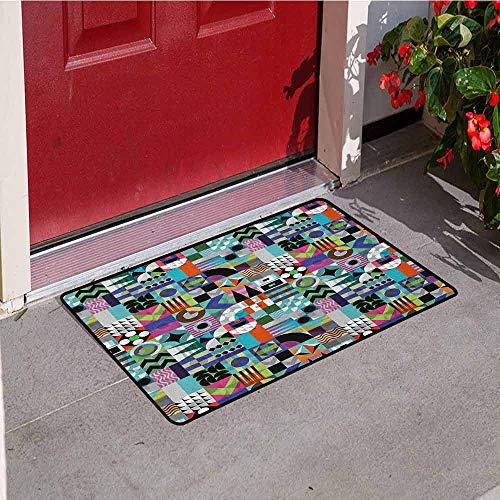 GloriaJohnson Mid Century Commercial Grade Entrance mat Mix of Various Different Geometric Shapes in Squares Funky Sixties Revival for entrances garages patios W31.5 x L47.2 Inch Multicolor -