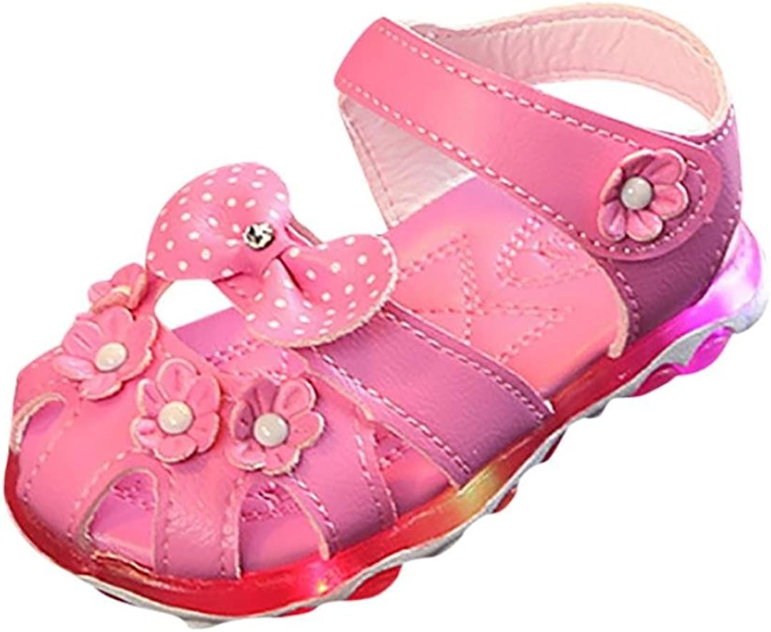 Cute Luminous Jelly LED Princess Flat Shoes Bow Soft Sandals Kid Girls Gifts BS
