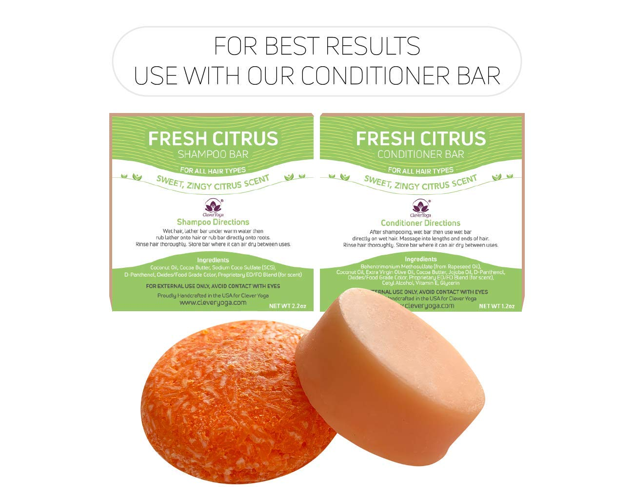 Shampoo Bar for All Hair Types - Perfect Travel Bar Shampoo for Hair - Vegan Solid Shampoo Bar for Lush Full and Frizz Free Hair by Clever Yoga (Argan ...